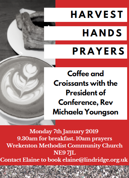 On Monday 7th January 2019 there will be a Harvest Hands Prayer Event.  See the